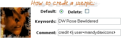 How to credit a userpic: