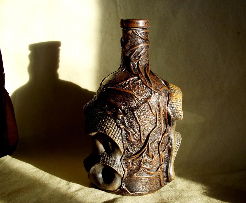 Бутылка из кожи своими руками