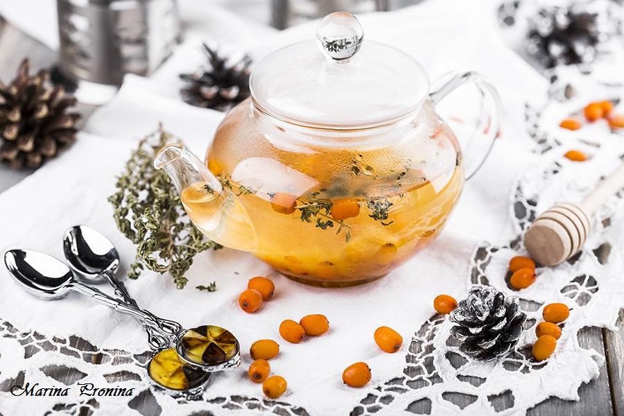 Чай с облепихой и морошкой