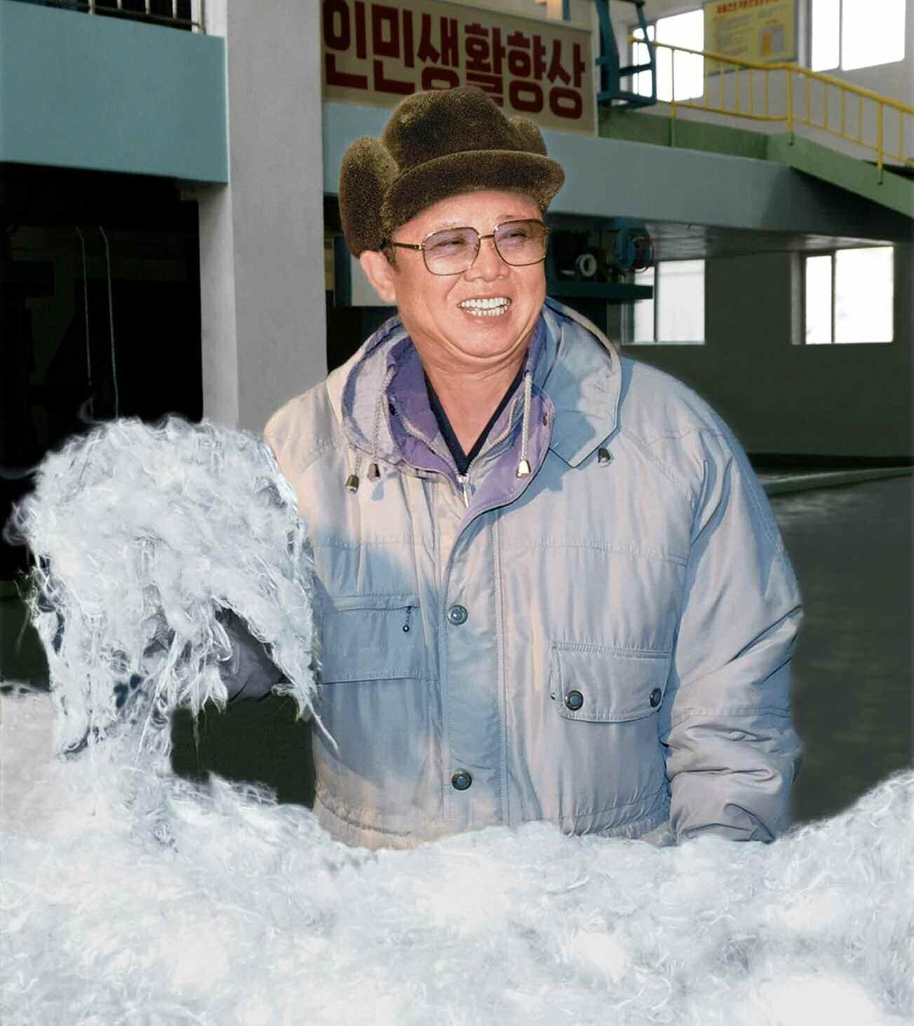 7. Великий Руководитель товарищ Ким Чен Ир нежно гладит виналоновую вату, февраль 2010 года