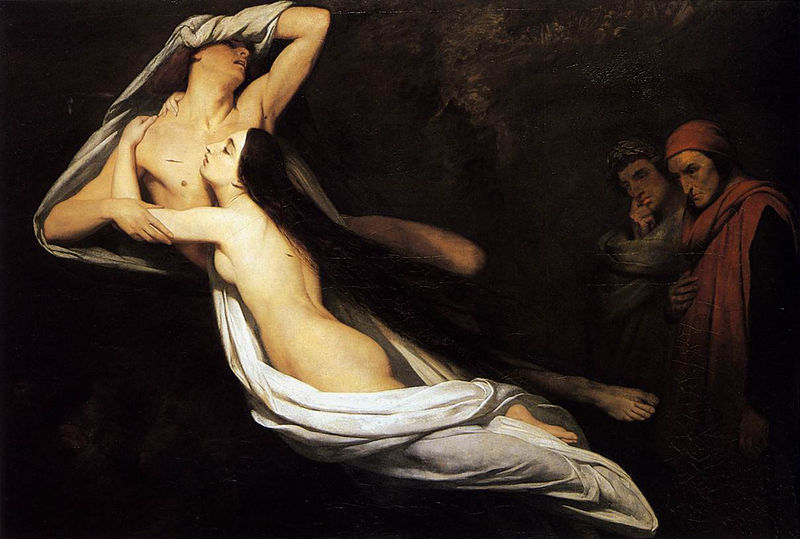 1835 Ary Scheffer - The Ghosts of Paolo and Francesca Appear to Dante and Virgil.