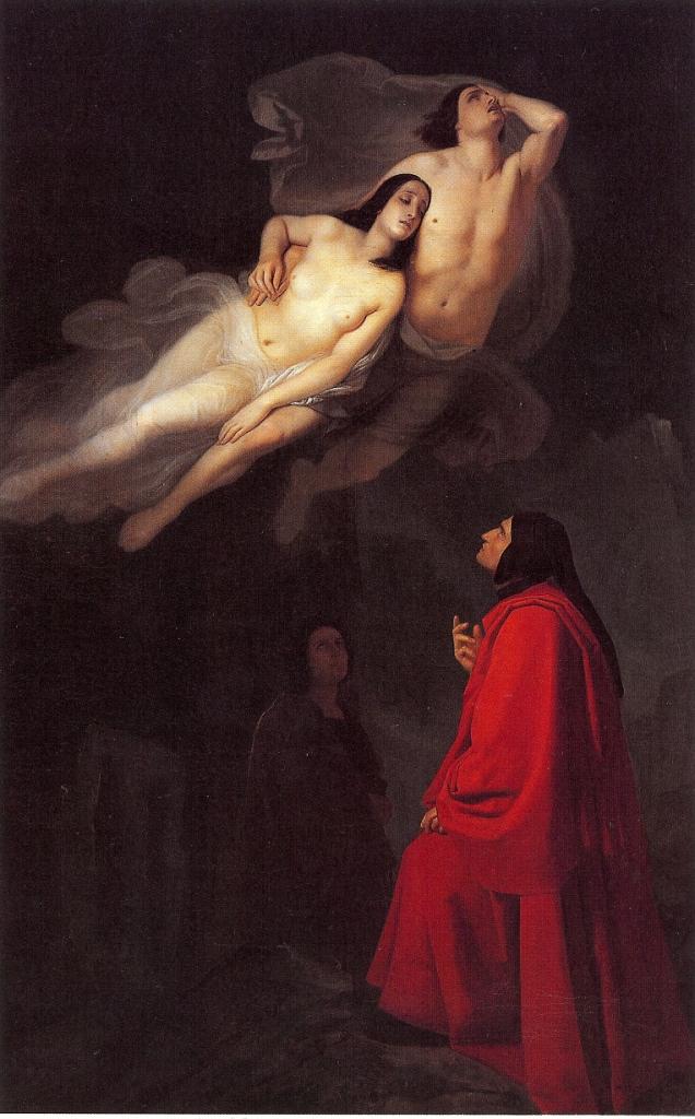 Giuseppe Frascheri, Dante e Virgilio incontrano Paolo e Francesca, 1846