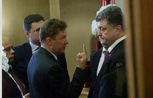 Миллер потрясает пальцем перед Порошенко