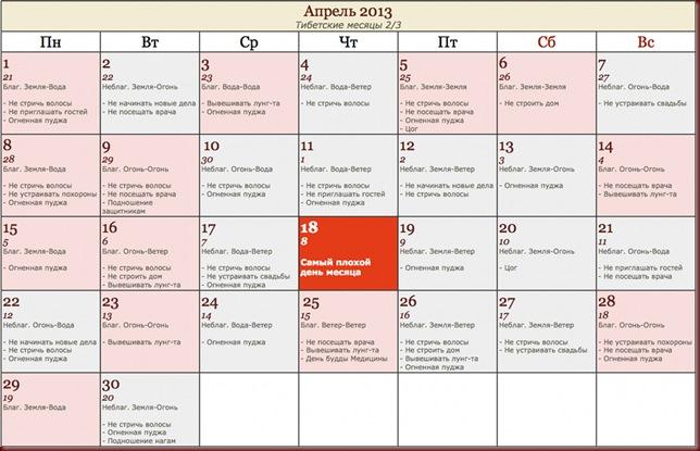 Тибетский календарь на апрель 2013