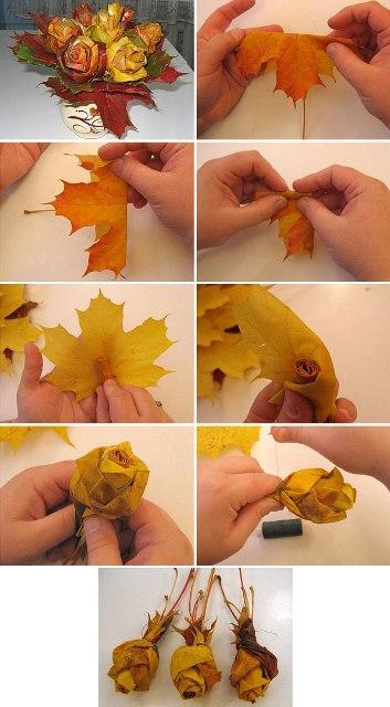 Поделки из листьев с инструкцией