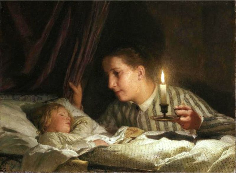 Молодая мама со свечёй смотрит на спящего ребёнка Альберт Анкер