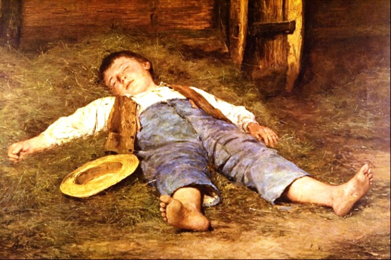 Спящий мальчик в сене  Альберт Анкер