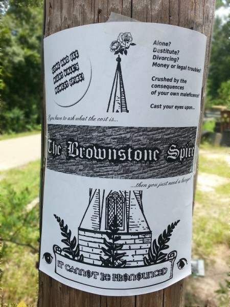 the flyer out on a telephone pole