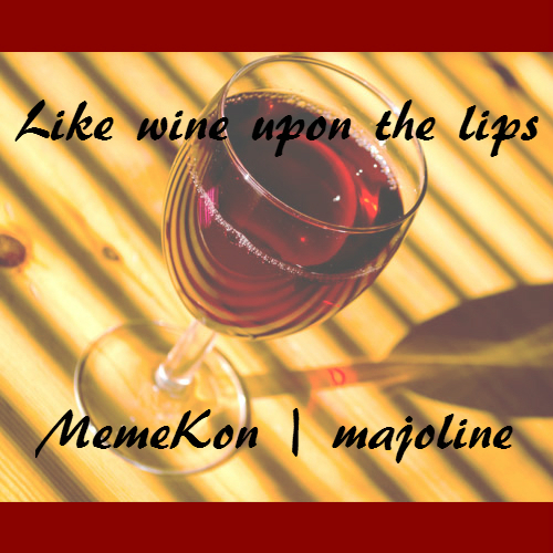 Cover art: A picture of a wineglass on a wooden table at an angle with red letterbox bars
