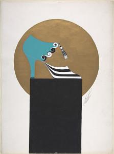 Дизайн бирюзовых женских туфель с черно-белым рисунком для торговой марки Делман.jpg
