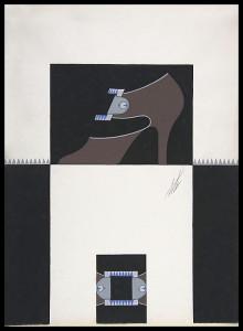 Дизайн женских туфель с голубой и серебряной пряжкой для торговой марки Делман.jpg