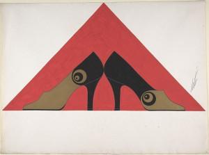 Дизайн женских черно-золотых туфель с концентрическими кругами для торговой марки -Делман-.jpg