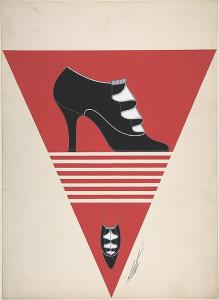 Дизайн женских черных туфель с гофрированной деталью для Делман 1934.jpg