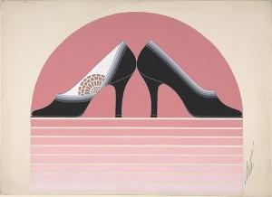 Дизайн черных женских туфель с ажурным рисунком и эффектом омбре для торговой марки Делман.jpg