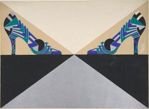 Синие, зеленые, черные и сереб-е геометр-е фигуры. Дизайн женских туфель для Делман 1934.jpg