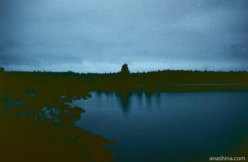 Белая ночь на Онежском озере. Отсканированный слайд
