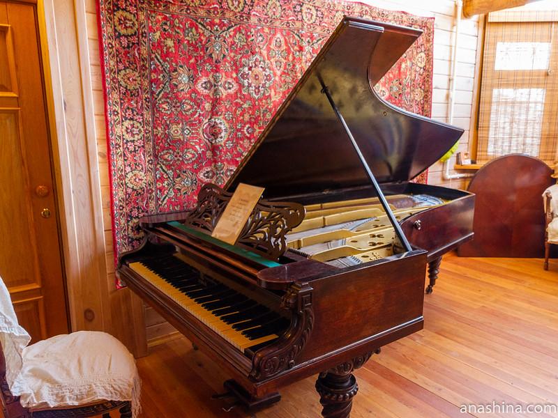 """Концертный рояль C.Bechstein выпущенный в 1872 году в Берлине. Он был приобретен Н.Г.Рубинштейном для нового здания Московской консерватории. С высокой долей вероятности, на этом инструменте играли П.И.Чайковский и С.И.Танеев. Ныне находится в музее-усадьбе """"Семья роялей"""""""