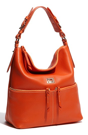 Dooney & Burke Orange Pocket Sac - Medium Zip Hobo
