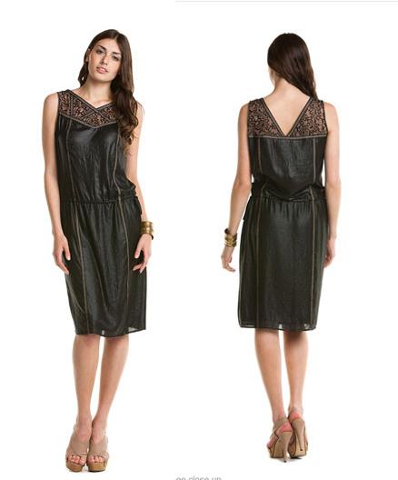 Пристрой BCBGMAXAZRIA Greta Black Crinkled Dress 1