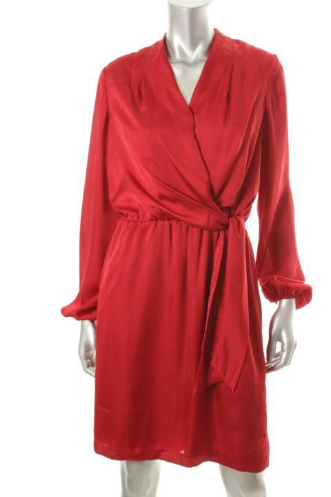 Donna Ricco NEW Red Satin Elastic Waist Faux Wrap Cocktail Evening Dress $15.50