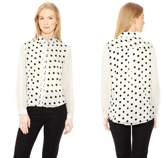 I. MADELINE Long Sleeve Polka-Dot Shirt