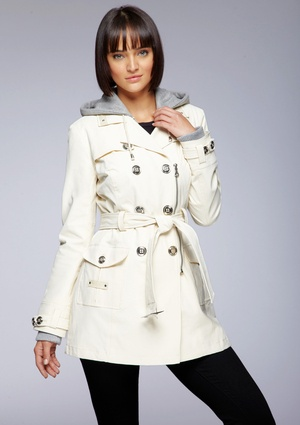 BLANC NOIR Double-Breasted Trench with Knit Hood1