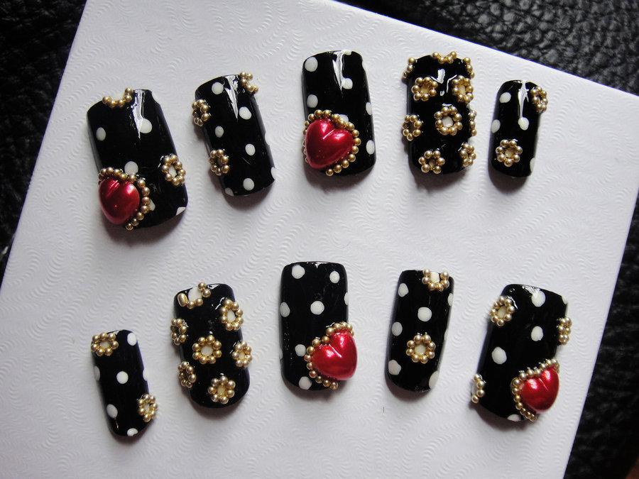 circle_dotted_black_nails_set_by_jadelushdesigns-d3cm0fi