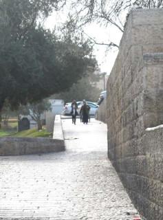 возле стены старого города
