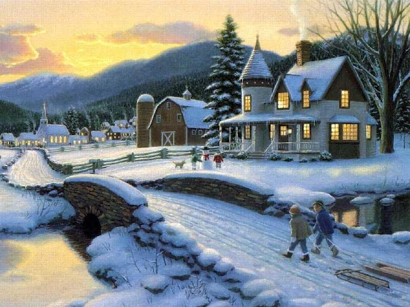 сказочный зимний вечер.