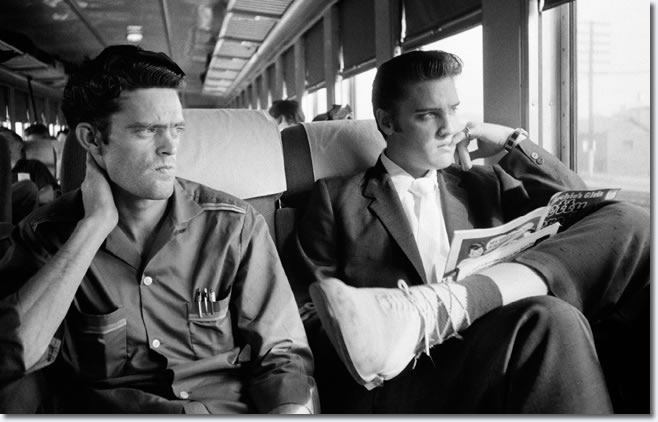 75-Gene Smith and Elvis Presley on the Southern Railroad between Chattanooga and Memphis, Tenn. July 4, 1956