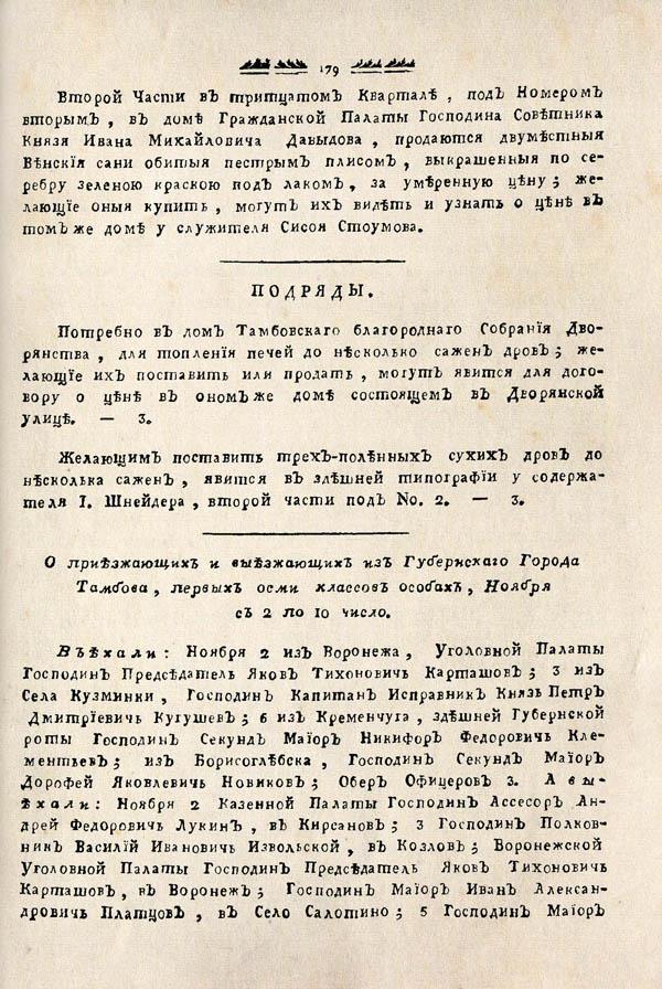 Тамбовские известия,  1788. №45 3