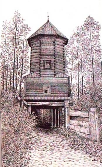 Башня древнего саровского вала в Темниковском уезде Тамбовской губернии. Фото конца 19 в.
