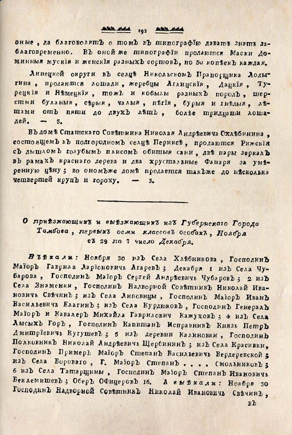 Тамбовские известия,  1788. №49 3