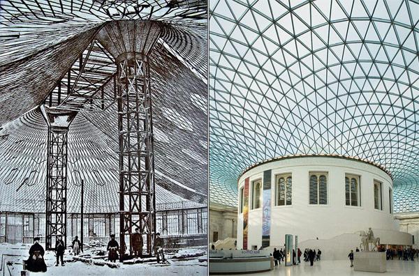 Сетчатые перекрытия выставочного павильона конструкции Шухова (1896) и овального зала Британского музея работы Н. Фостера