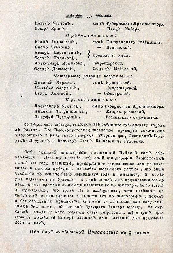 Тамбовские известия,  1788. №52 4