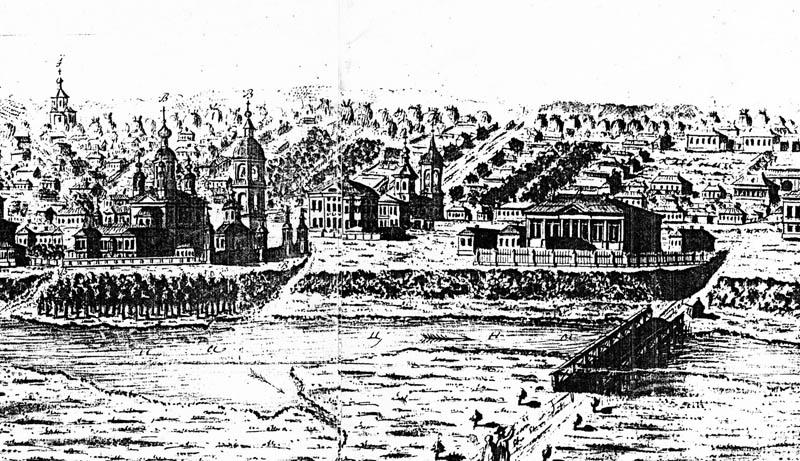 Казанский монастырь и губернаторский дом в Тамбове