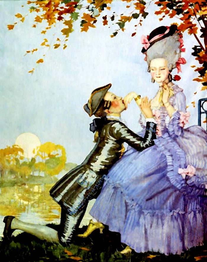 К.А. Сомов. Юноша на коленях перед дамой. 1916