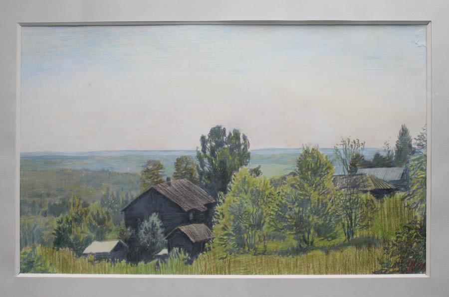 Матвей Шабаев. Деревня Оденьево. Рисунок цветными карандашами. 1995