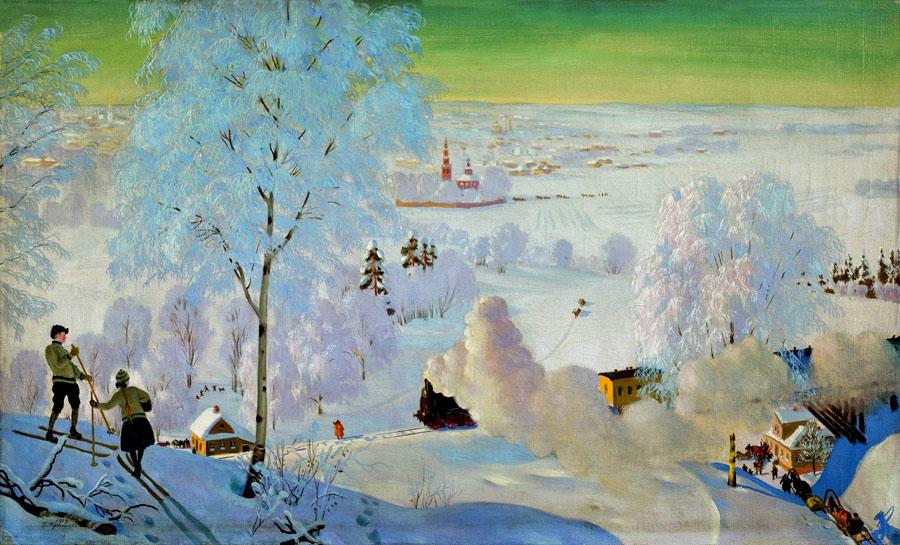Б. Кустодиев. Лыжники. 1919