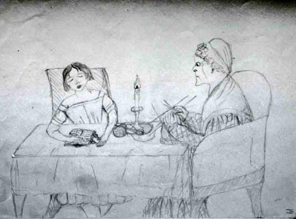 2 Лиза Дельвиг. рисунок из альбома. 1844