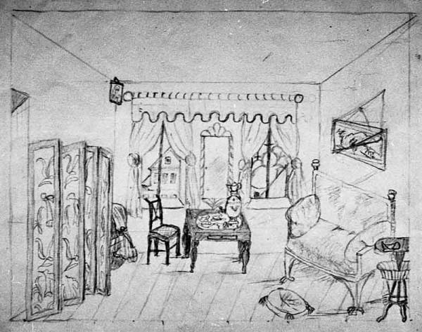 4 Лиза Дельвиг. рисунок из альбома. 1844