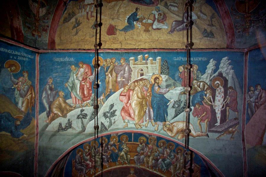 4 Воскрешение Лазаря. Фреска XIV века. Сербия