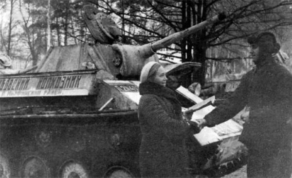 Декабрь 1942-го. Танк Т-70 с надписью на корпусе
