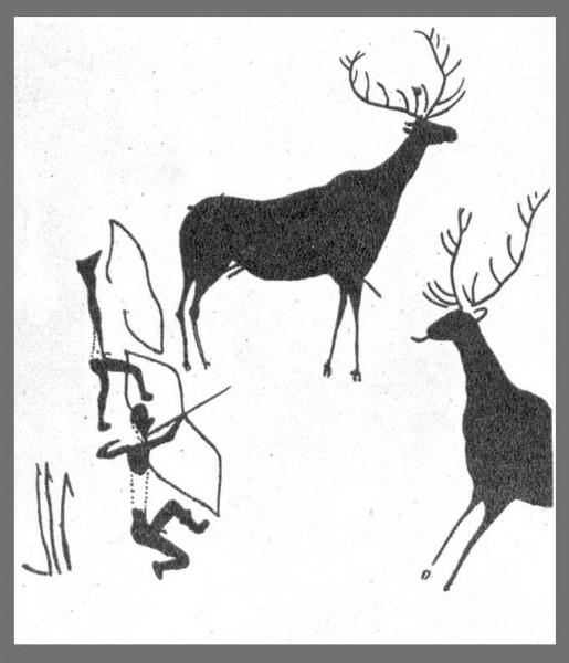 Сцена охоты. Наскальная роспись. Испания. Мезолит