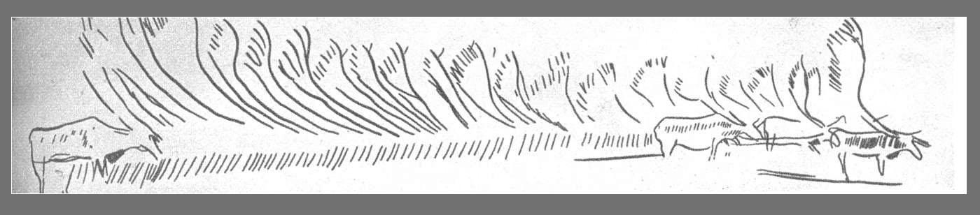 Стадо оленей. Резьба на кости. Франция. Палеолит (эпоха Мадлен)