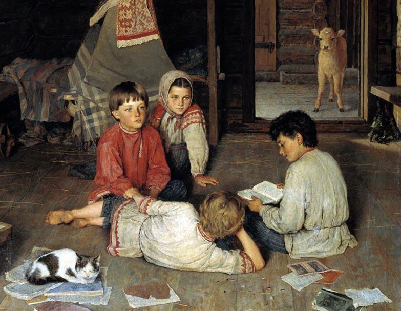 Н.П. Богданов-Бельский. Новая сказка. Фрагмент. 1891
