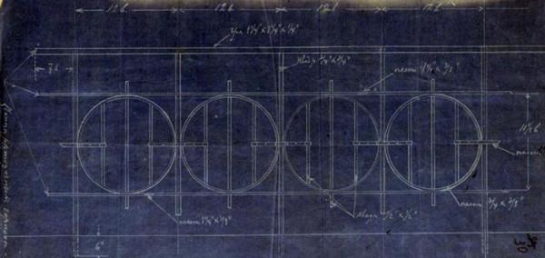 Синька (цианотипия) чертежа решетки перил Замятинского моста. 1910 г.