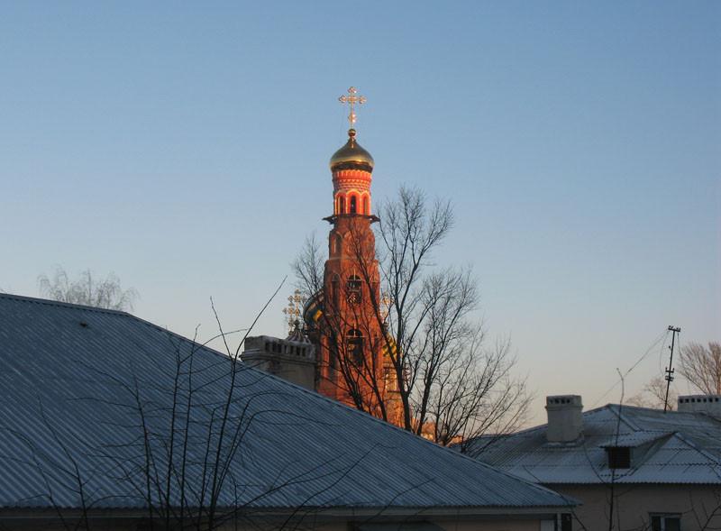 Вид из окна. Колокольня Вознесенского монастыря. Тамбов. Фото 20 декабря 2012 г.