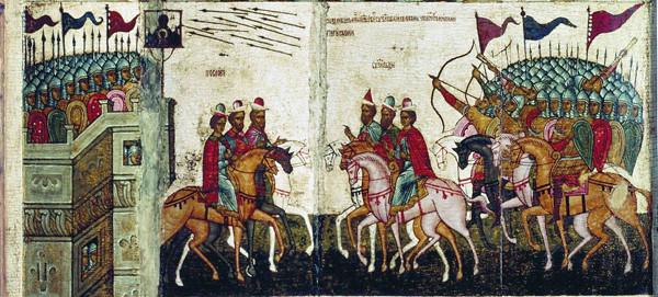 Битва новгородцев с суздальцами. Фрагмент иконы. 1460-е гг.