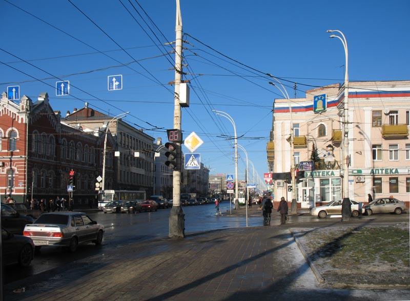 Перекресток улиц Советской и Московской. Тамбов. Фото 29 декабря 2012 г.